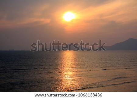 Busan, South Korea 21 DEC 2017 : Dadaepo Beach, Morundae - Dynamic Sunrise