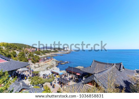 Busan , South Korea - February 17 , 2018 : Beautiful scenery from Haedong Yonggung Temple in the morning from top of the hill #1036858831