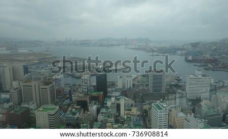 BUSAN/SOUTH KOREA - October 15, 2017 : Scenery of Busan city from the Busan tower #736908814
