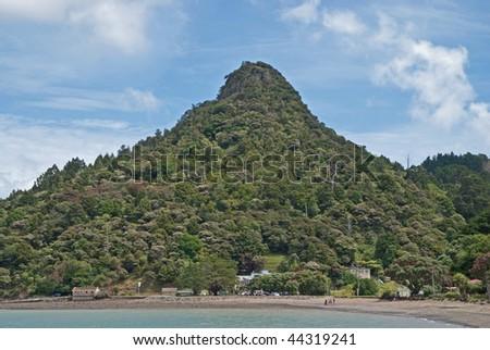 bush clad peak in New Zealand - stock photo