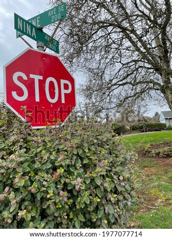 Bush growing around a stop sign on the corner of Nina and Arlene Foto stock ©