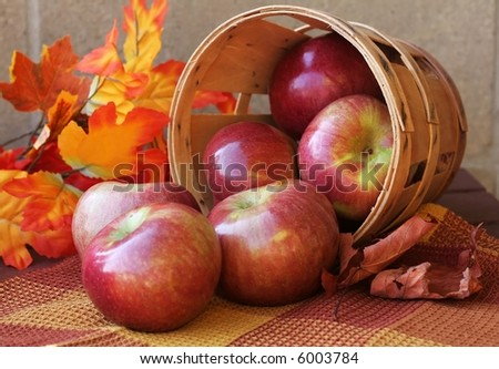 Bushel of red apples and autumn leaves
