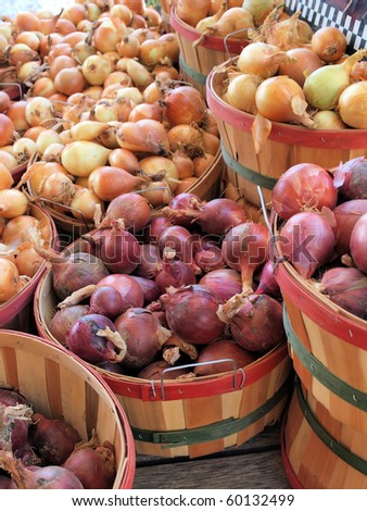 Bushels of fresh picked onions at a roadside market