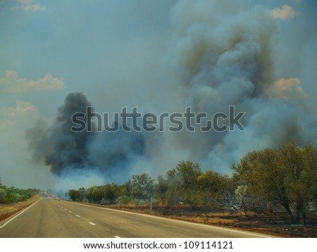 Bushfire in Australian outback