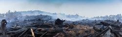 Bushfire smouldering in Australian Outback Panoramic