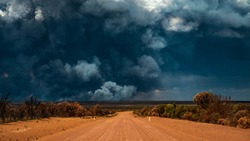 Bushfire Wildfire Smoke in remote area of Forrestania, Mount Holland Western Australia