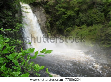 Bushkill waterfall with full spring water in Poconos , PA
