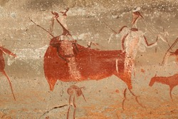 Bushmen (san) rock painting of human figures and antelopes, Drakensberg mountains, South Africa