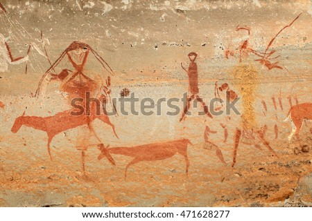 Bushmen (san) rock painting of humans and antelopes, Drakensberg mountains, South Africa