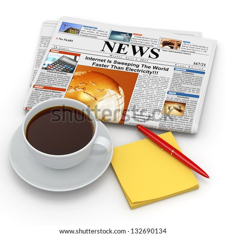 Busines morning concept. Coffee cup,  newspaper and reminder. 3d