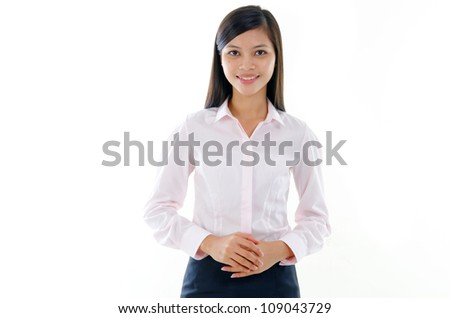 Busines s woman on white background