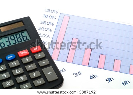 Business accessories on a background of diagrams - stock photo