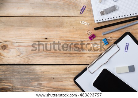 Business accessories, supplies, phone on rustic wooden table #483693757