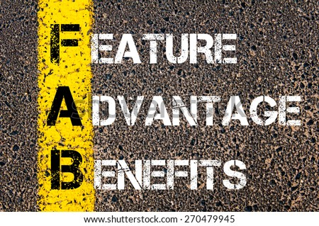 Business Acronym FAB - Feature Advantage Benefits. Yellow paint line on the road against asphalt background. Conceptual image Сток-фото ©