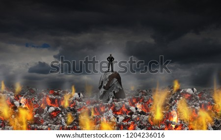 Business adversity and courage or feeling the heat concept as a businessman surrounded by hot coals in a 3D illustration style.