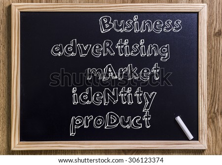 Business Advertising Market Identity Product BRAND - New chalkboard with outlined text - on wood