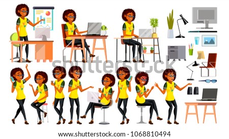 Business African Black Woman Character. American Elegant Modern Girl. Expressions. Working On The Computer. Desk. Cartoon Illustration