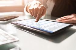 Business Agenda Schedule And Gantt Chart On Tablet Computer