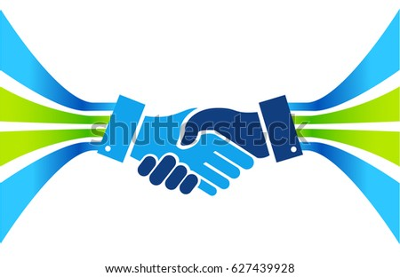 business agreement handshake lines concept illustration design isolated over white