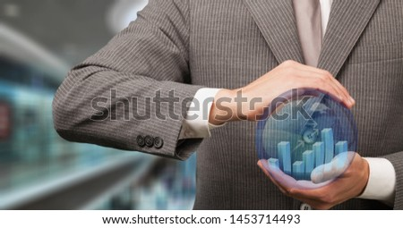 Business analyst activating an analytics icon #1453714493