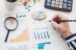 Business analyst working - hand with pen, calculator, coffee, magnifier, worksheet and graph