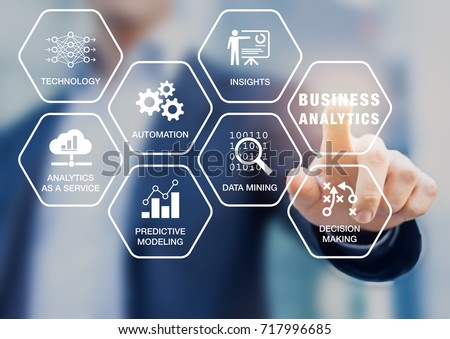 Business Analytics (BA) technology uses data mining, automation and predictive modeling for useful insights and decision making, concept with icons on a virtual screen with consultant in background #717996685