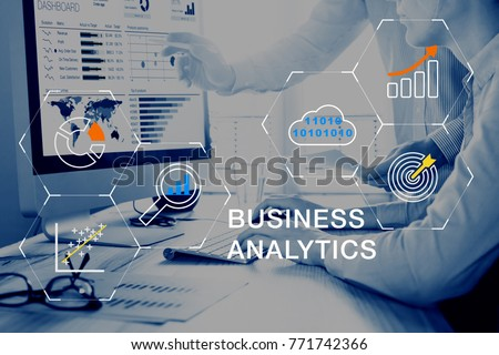 Business Analytics (BA) technology using big data, cloud computing and statistical model prediction to provide insights for financial and marketing strategy decisions #771742366