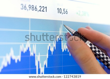 Business analyze with a pen, stock market graph close up on lcd screen