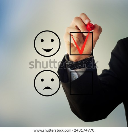Business and advertisement concept. Close up of businessman checking happy face box