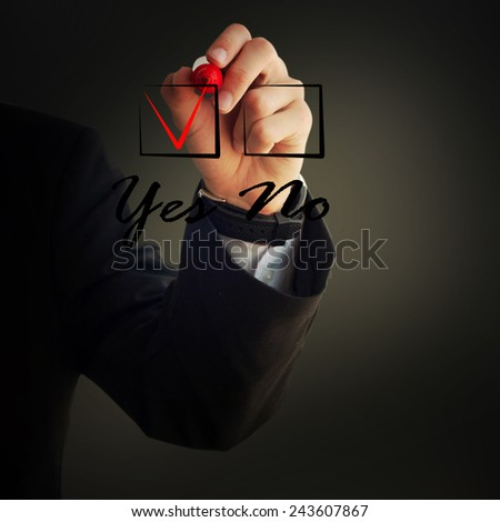 Business and advertisement concept. Close up of businessman checking \