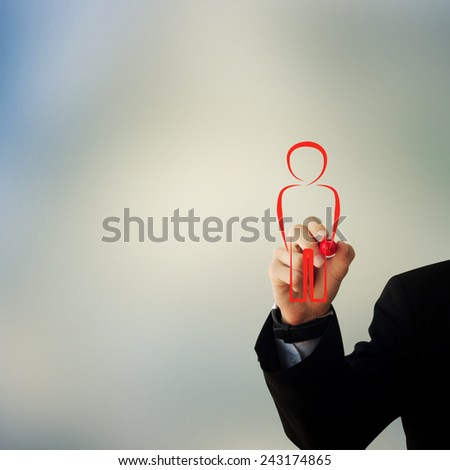 Business and advertisement concept. Close up of businessman drawing a person