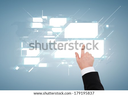 business and advertisement concept - close up of businessman pointing to virtual screen