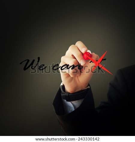 Business and advertisement concept. Close up of businessman tracing the \