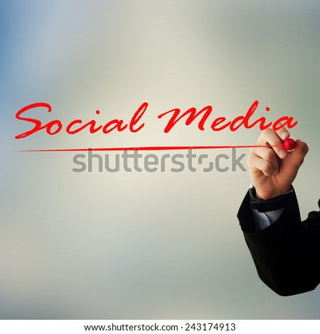 Business and advertisement concept. Close up of businessman writing \