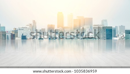 Business and design concept - empty stone panel ground with panoramic city skyline aerial view under bright sun and blue sky of nagoya, Japan for mockup or montage product #1035836959