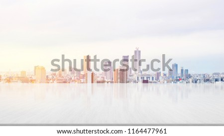 Business and design concept - empty stone panel ground with panoramic city skyline aerial view under bright sun and blue sky of Tokyo, Japan for mockup or montage product #1164477961