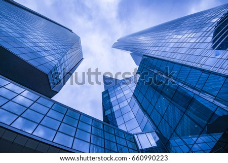 Business and finance centerwith skyscrapers in blue tones #660990223