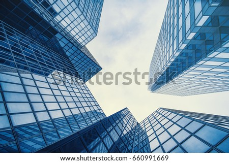 Business and finance centerwith skyscrapers in blue tones #660991669