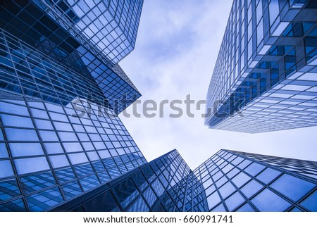Business and finance centerwith skyscrapers in blue tones #660991741