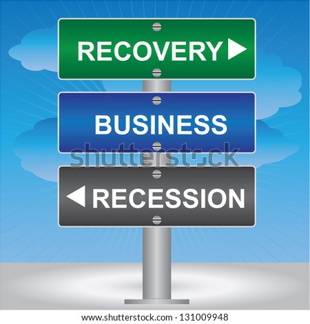 Business and Finance Concept Present By Green, Blue and Gray Street Sign Pointing to Recovery, Business and Recession in Blue Sky Background