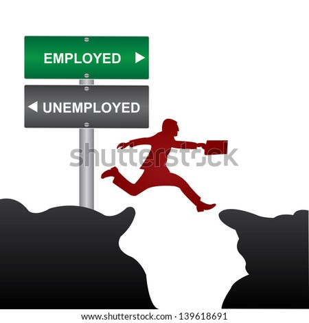 Business and Finance Concept Present By Jumping Through The Valley Gap With Green and Gray Street Sign Pointing to Employed and Unemployed Isolate on White Background