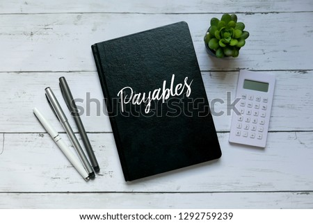 Business and finance concept. Top view of plant,calculator,pen and notebook written with Payables. #1292759239