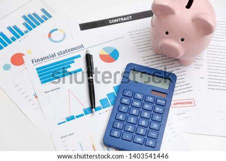 Business and finance concept with piggy bank and documents #1403541446
