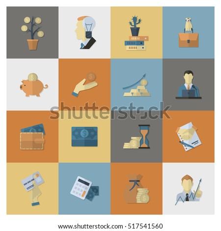 Business and Finance, Flat Icon Set. Simple and Minimalistic Style.