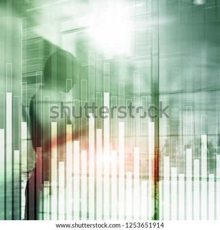 Business and finance graph on blurred background. Trading, investment and economics concept. #1253651914