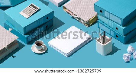 Business and finance management: piles of folders with paperwork and stationery, isometric objects #1382725799