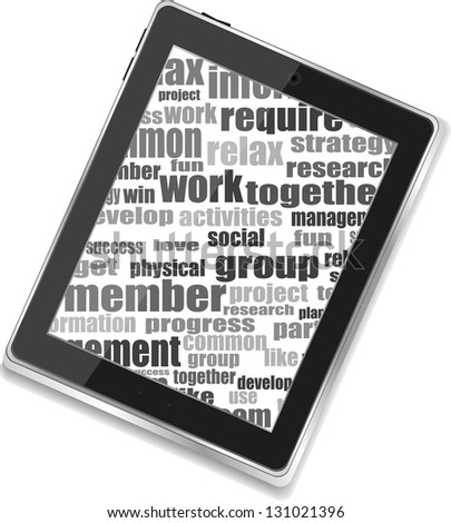 Business and financial words and tablet pc with empty screen, raster - stock photo