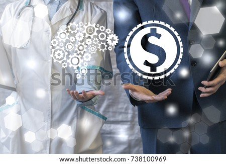 Business and Healthcare. Investments in the integration of information technology. Doctor offers brain gears sign, businessman represent dollar coin icon on virtual interface.