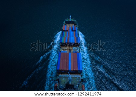business and industry shipping and service delivery cargo containers open sea international asia pacific frome Thailand  at night picture style aerial view