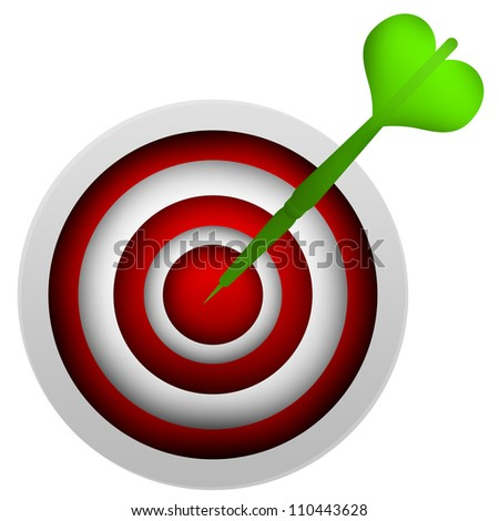 Business and Marketing Concept, The Green Dart Hitting a Target Isolated on White Background